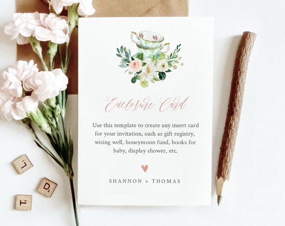 Tea Party Enclosure Card Template, Wedding, Bridal Shower, Baby Shower, Insert Card, 100% Editable Text, Registry, Book Request #085-146EC