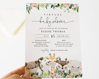 Virtual Baby Shower by Mail Template, Social Distancing Baby Shower Invite, Baby Animals, Editable, Instant Download, Templett #0008-174BA