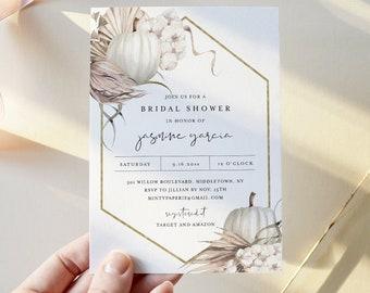 Fall Boho Bridal Shower Invitation Template, Bohemian Pumpkin Pampas Palm Wedding Shower Invite, 100% Editable Text, Templett #0022-299BS
