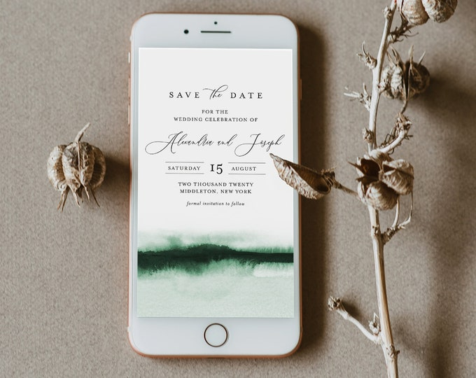Watercolor Save the Date, Electronic Invitation, Evite, Digital, Text Invite, INSTANT DOWNLOAD, 100% Editable Text, Templett #093C-114SDD