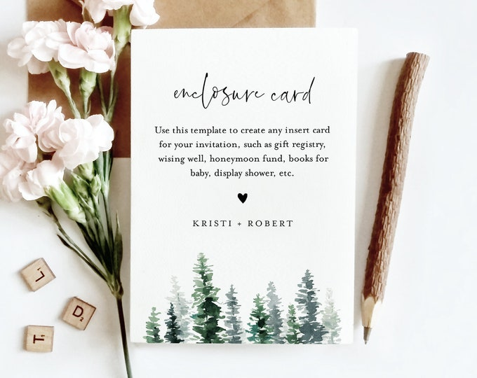 Pine Enclosure Card Template, Rustic Winter Wedding, Bridal Shower, Baby Shower, Any Insert Card, Registry, Book Request, Editable 073-150EC