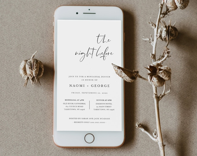 Digital Rehearsal Dinner Invite, Modern Minimalist Wedding Electronic Invitation, Evite, Text Message, Templett Instant Download #096-106RDD
