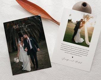 Wedding Photo Thank You Card, Minimal, Custom Thank You Card Template, 100% Editable, Instant Download, Templett, Flat Card, 5x7 #045-186TYC