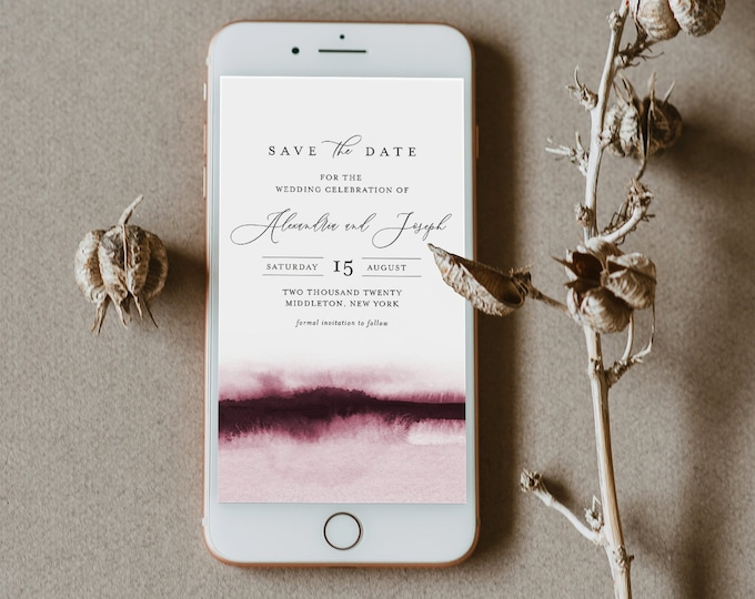 Watercolor Save the Date, Electronic Invitation, Evite, Digital, Text Invite, INSTANT DOWNLOAD, 100% Editable Text, Templett #093B-113SDD