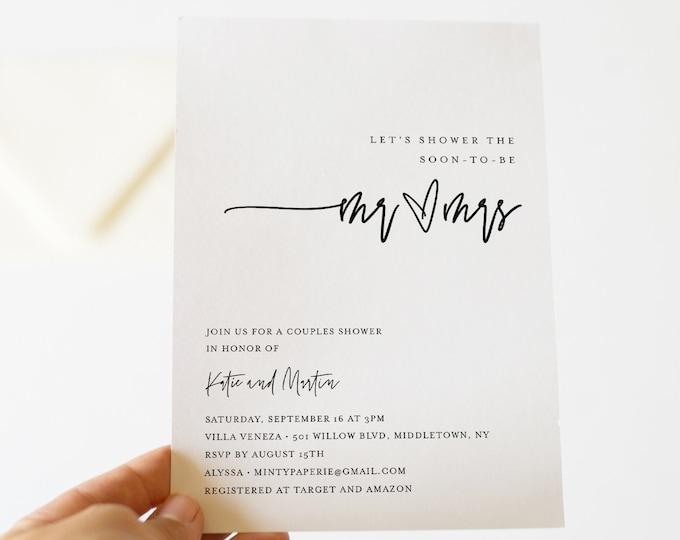 Minimalist Couples Shower Invitation Template, Printable Simple Wedding Shower Invite, Jack and Jill, 100% Editable, Templett #0009-287BS
