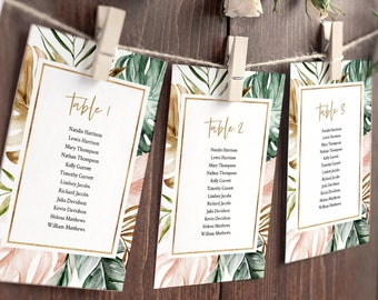 Tropical Seating Chart Template, Lush Greenery Wedding Seating Plan, Editable Table Card, INSTANT DOWNLOAD, Printable, Templett #087-128SP