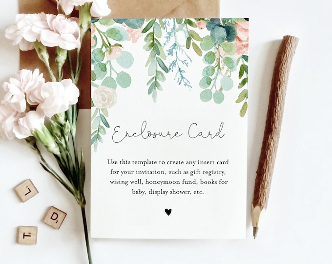 Enclosure Card Template, Lush Garden Wedding, Bridal Shower, Baby Shower, Any Insert Card, Registry, Book Request, Editable Text #068A-151EC
