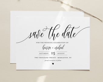 Save the Date Template, Printable Save the Date Postcard, INSTANT DOWNLOAD, 100% Editable, Modern Calligraphy, Templett, 4x6 #008-172SD