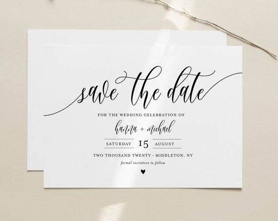 Save the Date Template, Printable Save the Date Postcard, INSTANT DOWNLOAD, 100% Editable, Modern Calligraphy, Templett, 4x6 #008-170SD