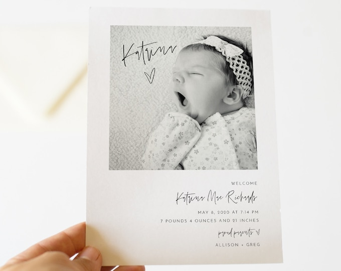 Photo Birth Announcement, Baby Announcement Card, Newborn, Modern, 100% Editable Template, Printable, Instant Download, Templett 0009-103BAC