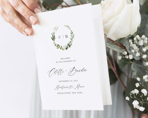 Wedding Program, Folded Booklet, Printable Order of Service Template, INSTANT DOWNLOAD, 100% Editable, Catholic Ceremony, Templett 082-136WP
