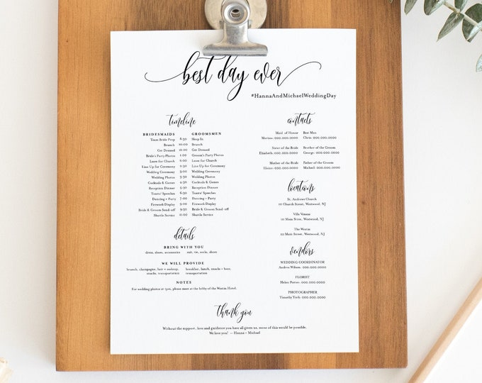 Bridal Party Timeline, Minimalist Wedding Itinerary, Order of Events, Details for Bridesmaid & Groomsmen, Editable, Templett #008-106BPT
