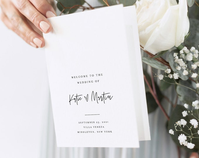 Minimalist Wedding Program Template, Modern Script Order of Service, Catholic Ceremony, INSTANT DOWNLOAD, 100% Editable, Templett 0009-143WP