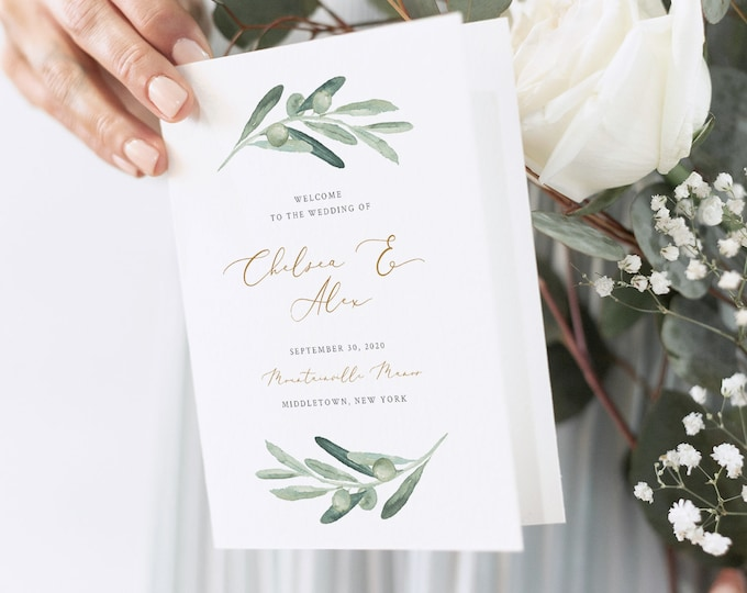 Olive Wedding Program Template, Folded Booklet, Printable Order of Service, INSTANT DOWNLOAD, 100% Editable, Catholic Ceremony #081-135WP