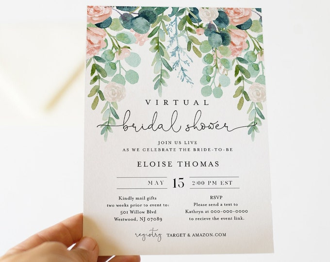 Virtual Bridal Shower Template, Social Distance Bridal Shower Invitation, Lush Garden, Editable, Instant Download, Templett #068A-269BS