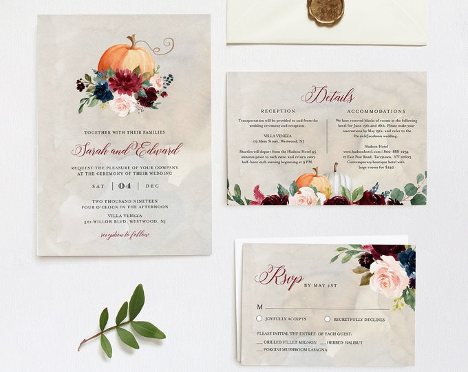Fall Wedding Invitation Suite, Pumpkin, Autumn, Burgundy, Editable Template, Invite / RSVP / Details, INSTANT DOWNLOAD, Templet #072A