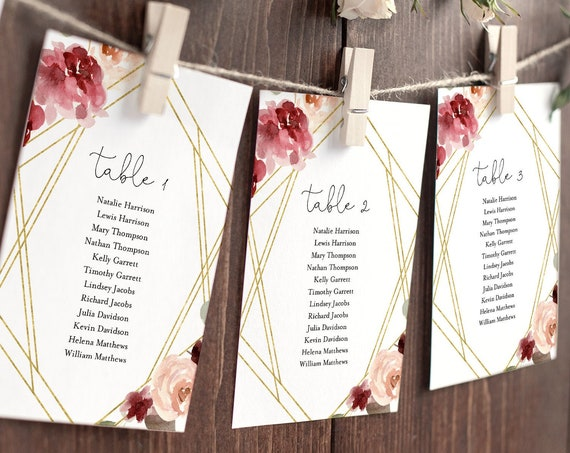 Boho Seating Chart Template, Rose Floral & Gold Wedding Seating Plan, Editable Table Card, INSTANT DOWNLOAD, Printable, Templett #065-126SP