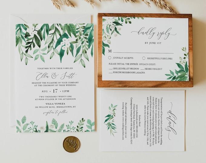 Lush Garden Wedding Invitation Set, Printable Spring / Summer Greenery Wedding Suite, Editable Template, Instant Download, Templett #080A