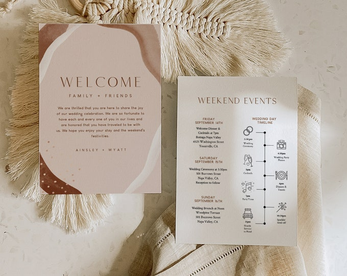 Welcome Letter & Timeline Template, Earthy Abstract Wedding Order of Events, Itinerary, Instant Download, Editable, Templett #0016-165WB