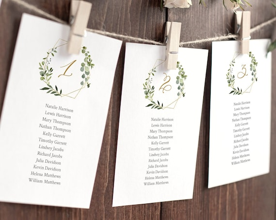 Greenery Seating Chart Template, Wedding Seating Plan, Editable Hanging Seating Card, Place Card Alternative, INSTANT DOWNLOAD #056-127SP
