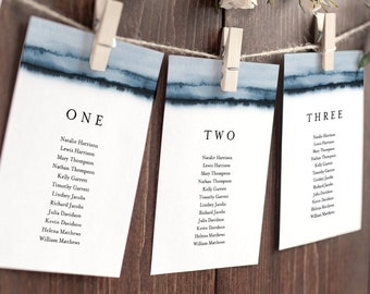 Minimalist Seating Chart Template, Navy Watercolor Wedding Seating Plan, Hanging Cards, Editable Text, Instant Download, Templett 093A-130SP