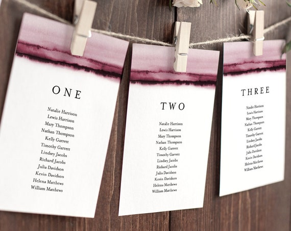 Burgundy Watercolor Seating Chart Template, Wedding Seating Plan, Hanging Cards, Editable Text, Instant Download, Templett #093B-132SP