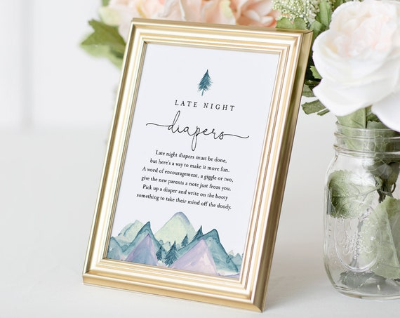 Mountain Late Night Diapers Sign, Printable Baby Shower Game, Diaper Notes, Editable Template, INSTANT DOWNLOAD, 5x7 & 8x10 #063-136BASG