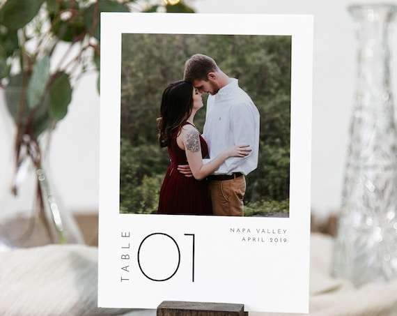 Photo Table Number Card Template, Minimalist Simple Clean Wedding Table Number, Editable, INSTANT DOWNLOAD, Templett, DIY 4x6 #094-177TC