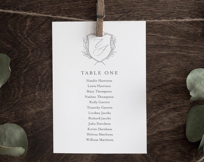 Monogram Seating Chart Template, Minimalist Wedding Seating Plan, Hanging Cards, 100% Editable, Instant Download, Templett #00007-138SP