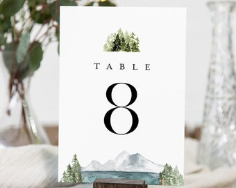 Lake Table Number Cards, Printable Mountain Pine Wedding Table Number, Woodland, Editable Template, Instant Download, Templett #017A-166TC