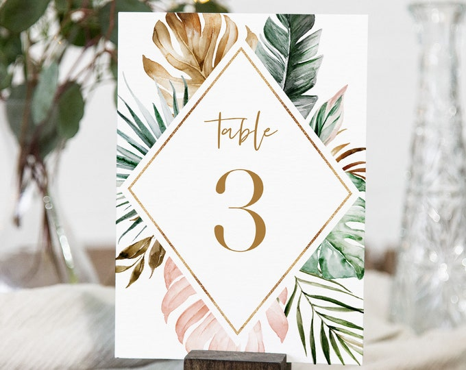 Tropical Table Number Card Template, Printable Lush Greenery & Gold Table Number, Beach Wedding, INSTANT DOWNLOAD, Templett, 4x6 #087-155TC