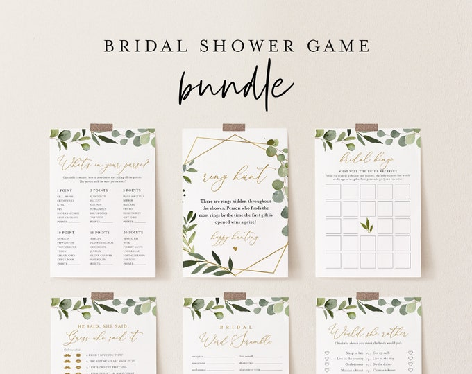 Bridal Shower Game Bundle, 12 Editable Templates, INSTANT DOWNLOAD, Customize Name & Questions, Greenery Bridal Games, Templett #056BGB