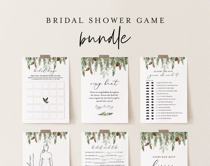 Bridal Shower Game Bundle, 13 Editable Templates, INSTANT DOWNLOAD, Customize Name & Questions, Winter Pine Bridal Games, Templett #0017BGB