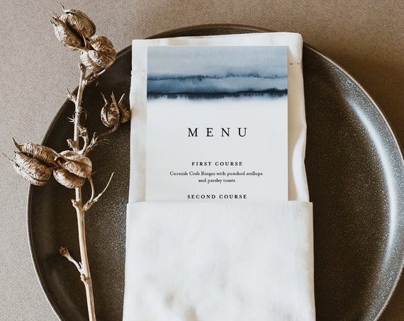 Modern Wedding Menu Template, Watercolor, Elegant, INSTANT DOWNLOAD, Printable Dinner Menu Card, 100% Editable Text, Templett #093-165WM