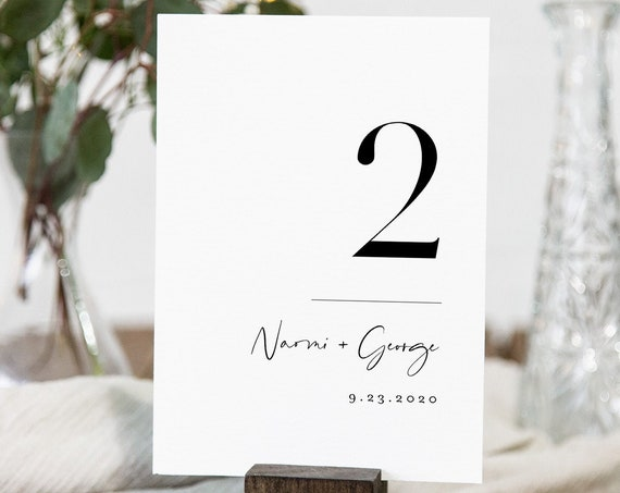 Minimalist Table Number Cards, Printable Modern & Simple Wedding Table Number, Editable Template, Instant Download, Templett #096-167TC