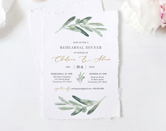 Olive Rehearsal Dinner Invitation Template, Greenery Wedding Rehearsal Invite, 100% Editable Text, Instant Download, Templett #081-146RD