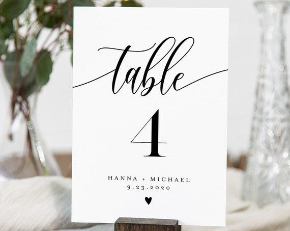 Modern Calligraphy Table Number Card Template, Minimalist Wedding Table Number, Editable, INSTANT DOWNLOAD, Templett, DIY 4x6 #008-162TC