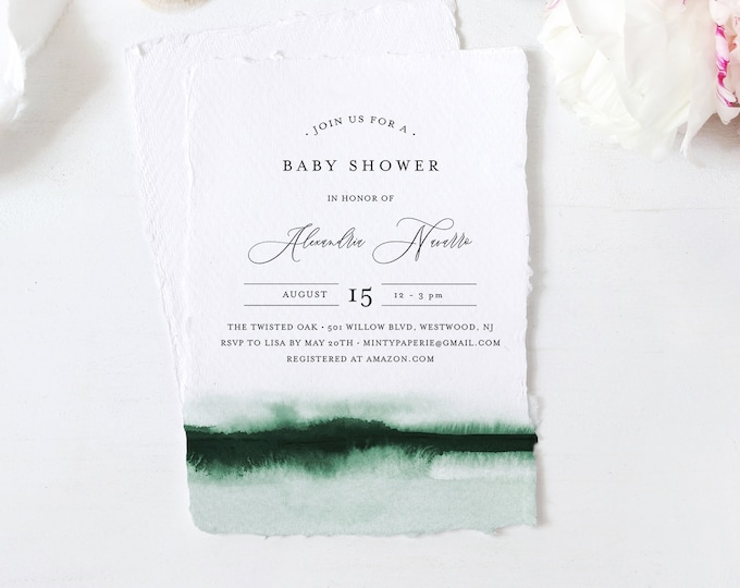 Baby Shower Invitation Template, Printable Baby Shower Invite, Emerald Watercolor, Editable, DIY, Templett, INSTANT DOWNLOAD #093C-146BA