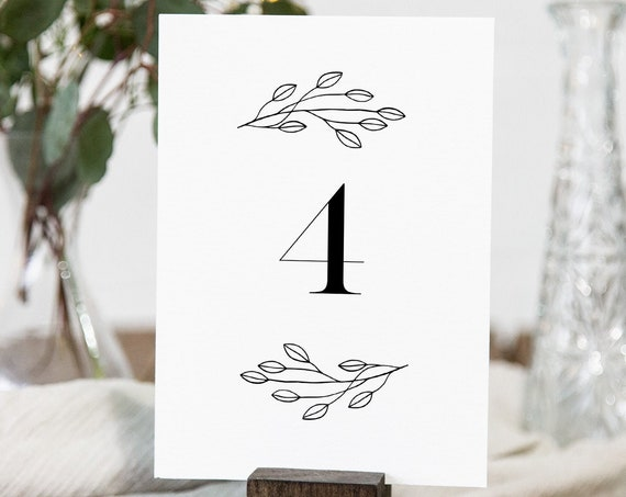 Minimalist Table Number Card Template, Rustic Simple Clean Wedding Table Number, Editable, INSTANT DOWNLOAD, Templett, DIY 4x6 #095-169TC