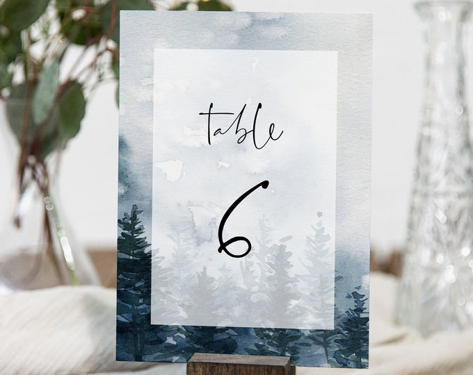 Pine Wedding Table Number Template, Printable Rustic Winter Table Card, INSTANT DOWNLOAD, Editable Text, Templett, 4x6 #070-161TC