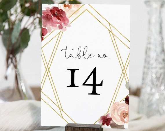 Boho Table Number Card Template, Printable Burgundy Floral and Gold Wedding Table Number, INSTANT DOWNLOAD, Templett, 4x6 #065-154TC