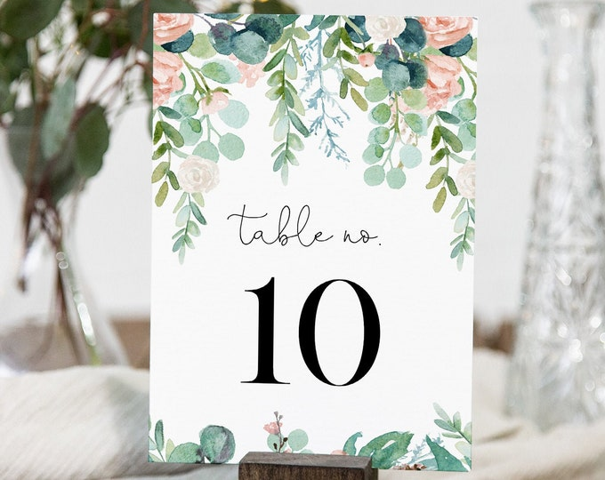 Lush Garden Table Number Card Template, Greenery Wedding Table Number, Editable Text, INSTANT DOWNLOAD, Templett, DIY 4x6 #068A-175TC