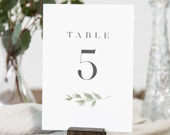 Greenery Table Number Card Template, Minimalist Wedding Table Number, Editable Text, INSTANT DOWNLOAD, Templett, DIY 4x6 #0004B-176TC