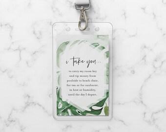 Wedding Room Key Card Tag Template, Printable Tropical Palms Key Card Pocket, Destination Wedding, Instant Download, Templett #099-103RKH