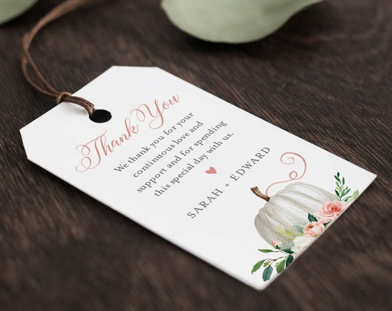 Pumpkin Favor Tag Template, Editable Fall Bridal Shower or Wedding Tag, Thank You Tag, Welcome Bag, INSTANT DOWNLOAD, Templett #072-145FT