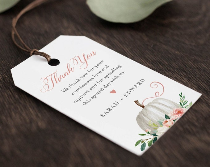 Pumpkin Favor Tag Template, Editable Fall Bridal Shower or Wedding Tag, Thank You Tag, Welcome Bag, INSTANT DOWNLOAD, Templett #072B-145FT