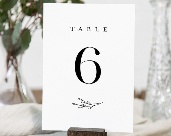 Minimalist Table Number Card Template, Classic, Elegant Wedding Table Number, Editable, INSTANT DOWNLOAD, Templett, DIY 4x6 #037-163TC