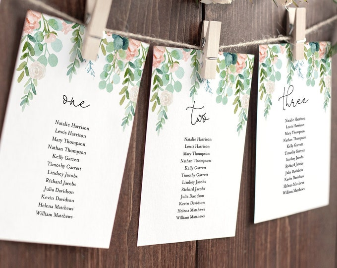 Lush Garden Seating Chart Template, Greenery Wedding Seating Plan, Hanging Cards, 100% Editable Text, Instant Download, Templett #068A-134SP