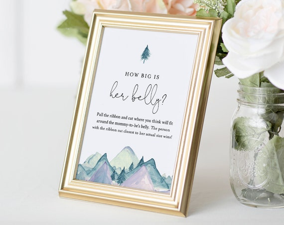 How Big Is Her Belly Game, Mountain Baby Shower Game, How Big Is Mommy's Belly Sign, Editable Template, 2 Sizes - 5x7 and 8x10 #063-133BASG