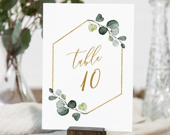 Greenery Table Number Cards, Printable Wedding Table Number, Bohemian, Elegant, Editable Template, Instant Download, Templett #007-165TC